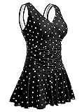Summer Mae Damen Badekleid Plus Size Geblümt Figurformender Einteiler Badeanzug Swimsuit Schwarze Polka Dot (EU Size 40-42)(Herstellergröße: M)