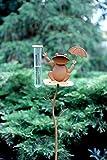 Dynamic24 Metall Gartenstecker Regenmesser Frosch mit Schirm 100cm Garten Figur Deko Rost Optik Regen