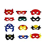 Superhelden Masken, Filz Superhero Cosplay Party Masken Halbmasken mElastischen Seil für Erwachsene und Kinder Party Maskerade Multicolor,12 Stück