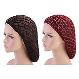 Minkissy 2Pcs Schlafende Haarnetze Häkeln Haarnetz Langes Haar Snood Abdeckung Turban für Frauen Mädchen Schwarzer Rotwein