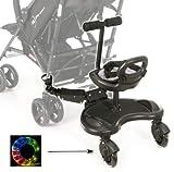 Board mit Sitz für Rollstühle mit Sitz Universelle Plattform für ältere Kinder Jeder Kinderwagen Das Neueste Modell Verfügt über Leuchtende LED-Räder mit Stoßdämpfung passend für jeden Kinderwagen.