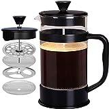 [1 Liter/ 1000 ml] Kaffeebereiter mit Edelstahl Filter - French Press Kaffeemaschine - Französische Kaffeepresse - Französisches Pressensystem - Schwarz - KICHLY