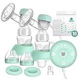 Lictin Elektrische Milchpumpe Smart Silikon Wiederaufladbare Brustpumpe Doppel Muttermilch Abpumpen mit Massagemodi Muttermilchfänger 2 Modi 10 Stufen Einstellung 10 Muttermilch Aufbewahrungsbeuteln