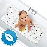FLIPLINE Badewannenmatte Natura Hautsensitiv 100% BPA frei - KEIN PVC - Badewanneneinlage 100x40 cm rutschfest für Kinder und Baby - Antirutschmatte