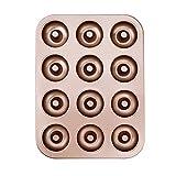 Donut Formen 12er Antihaft Metall Backblech Backform für Kuchen-Biskuit Bagel Muffin Donut Wannen Kuchen 35 * 26 cm