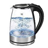 LUOWAN Glas Elektrischer Wasserkocher, 1,8 l schnelles Kochen Wasserkocher 2200 W mit beleuchteter LED, Auto-Off & Trockengehschutz, BPA-frei
