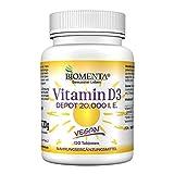 BIOMENTA Vitamin D3 hochdosiert – vegan - mit 20000 I. E. je Vitamin D3 Tablette – Depot 1 Tab. Vitamin D /20 Tage - 120 Vitamin D3 Tabletten aus Cholecalciferol