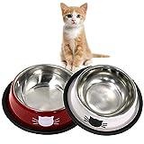 DMSL Katzennäpfe Katzenschüssel Set, 2 Stück rutschfeste Katzennapf aus Edelstahl, Fressnapf Katze Wasserschale, Katzennapf erhöht Näpfe und Tränken für Haustier