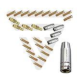STAHLWERK MIG MAG Schweißzubehör AK-15/MB-15 Verschleißteile, Gasdüsen + Düsenträger + Stromdüsen für MIG MAG Schweißbrenner, Set 28-teilig
