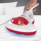 CLEANmaxx Akku Milben-Handstaubsauger | Antimilben-Sauger mit UV-C-Licht | Reinigung und Desinfizierung in einem Schritt | inkl. HEPA Filter [Hochwertiger Kunststoff] (Rot)