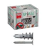TOX Gipskartondübel Spiral Plus 37-4 mit Senkkopfschraube 4,5 x 50 mm, für einlagige und doppelbeplankte Gipskartonplatten, 50 Stück, 068101041