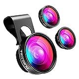 VICTSING Fisheye 3-IN-1 Handy Linsen Fischauge Objektiv (180 Grad Fisheye Objektiv, 0.65X Weitwinkelobjektiv, 10X Makroobjektiv) Handy Linsen Adapter für iPhone/Samsung usw