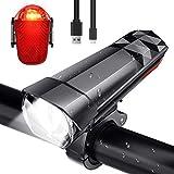 SFNTION Fahrradlicht-Set, über USB wiederaufladbar, wasserdicht, Laufzeit 10+ Stunden, 500 Lumen, superhelle Scheinwerfer vorne und hinten LED, passend für alle Fahrräder, Mountainbikes, Straße