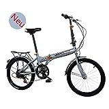 Sport & Freizeit 6 Speed klappräder 20 Zoll, Fahrrad Faltrad leicht, Cityräder für Damen & Herren, Klappräder Mountainbike, Nabenschaltung klappräder für Erwachsene (Grau)