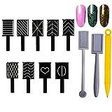 12 Stück Nail Magnet Tool, Mwoot 3D Magnet Stick für Nagellack Gel Magische Nagel Werkzeug, Magnetische Katze Eye Pen Zeichnung Vertikalen Stick,Nagelkunst-Magnet-Stift-Set