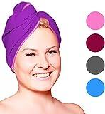 Fit-Flip Haarturban Mikrofaser – saugstark und schnelltrocknend - Spezial Turban Handtuch als auch Haarhandtuch (1 Stück lila-rosa)