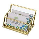 Sumnacon Visitenkartenhalter, 1 Fach, Glas, für Visitenkarten, als Schreibtisch-Organizer, Bürobedarf, Goldfarben 2 slot