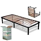 Evergreenweb ✅ Klappbarer Lattenrost 90x200 Einzelbett Höhe 35 cm Orthopädisches Bett, Komfort Holzleisten mit 6 Abnehmbar Füße Verstärkte Rahmen aus Stahl Bettgestell für alle Betten&Matratzen