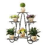 WISFORBEST Blumentreppe Metall, Blumenständer mit 4 Ablagen Pflanzentreppe für Innen-Balkon Wohzimmer Outdoor Garten Deko, schwarz Blumenregal, 77 x 72 x 26cm