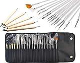 JZK® 20 x Professional Nail Art Pen Gel Pinsel Nailart Malerei Stift Künstlerpinsel French Nagel Kunst Bürste Werkzeug Kit, Dotting Spot Swirl Spitzen Tool set, für Nageldesign Lackieren Punktemuster usw., mit Tasche