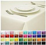 Rollmayer Tischdecke Tischtuch Tischläufer Tischwäsche Gastronomie Kollektion Vivid (Ecru 2, 120x220cm) Uni einfarbig pflegeleicht waschbar 40 Farben