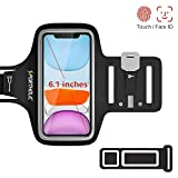 PORTHOLIC Schweißfest Sport Armband für iPhone 11 Pro XS X 8 7 6, Verlängerungsband, Schlüsselhalter, Kartensteckplatz, Kopfhörerloch, für Handy Bis zu 6,1', für Joggen Radfahren Wandern