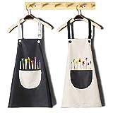 INSANYJ Schürze Kinder mit Tasche, 2 Stück Set Wasserdicht Schürzen für Jungen Mädchen, Verstellbare Kochschürze/Küchenschürze für Basteln Bemalen Backen Kochen (schwarz, grau7-13 Jahre)