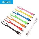 Ebyphan 8 Stücke Flexible USB LED Licht, Mini USB LED Lampe, Tastaturlampe für Laptop, USB Licht für Notebook Computer Tastatur (Verstellbare Schwanenhals Leselampe, 8 Farben)