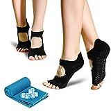 Yoga Socken für Damen, rutschfeste Sportsocken Pilates Socken (2 Paar) mit 1 kühlendes Handtuch schweißabsorbierend für Barre, Ballett, Tanz und Fitness Sport, 35-41 (Schwarz)