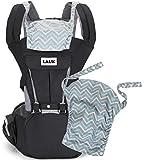 Baby-Bauchtrage Babytrage mit Hüftsitz Schadstofffrei Verstellbar Abnehmbare Kapuze für Neugeborene und Kleinkinder von 3-48 Monate (3,5 bis 20 kg), Farbe Schwarz