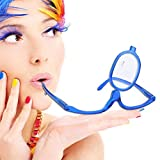 Make Up Schminkbrille mit klappbaren Brillenglas, Lesebrillen Damen Schminkbrille, Make up Brille(Blau 200)