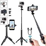 Handy Stativ Smartphone iPhone Stativ mit Handy Halterung und Bluetooth Fernbedienung Kamera Stativ für iPhone Samsung und Kamera