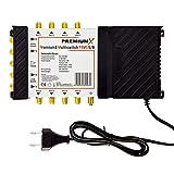 PremiumX PXMS 5/8 Multischalter mit Netzteil Multiswitch 1 SAT für 8 Teilnehmer Satverteiler Digital HDTV FullHD 4K UHD 8K