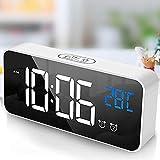 tronisky Digitaler Wecker, LED Digital Wecker Spiegel Tischuhr USB Wiederaufladbar Reisewecker mit 2 Alarmen/Snooze/Temperatur Anzeige/Sprachsteuerung Funktion, 4 Helligkeit, Weiß