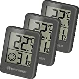 Bresser Thermometer Hygrometer Temeo Hygro Indicator 3er Set zum Aufstellen oder zur Wandmontage mit Raumklima-Indikator, grau