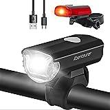 Abenteurer LED Fahrradlicht Set, LED Fahrradbeleuchtung StVZO Zugelassen USB Aufladbar Fahrradlampe Set, Wasserdicht Fahrradlicht Vorne Rücklicht Set Licht für Fahrrad 2 Licht-Modi Fahrrad Licht