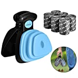 Queta Dog Pooper Scooper mit 6 Abfallsäcken Kleine Haustier-Toilette Abfallaufbewahrung Poop Scoop mit Pet Poop-Taschen, Walking Poop Remover Home Yard Outdoor-Abholwerkzeug (Blau)
