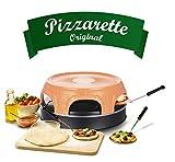 Emerio Pizzaofen, PIZZARETTE das Original, handgemachte Terracotta Tonhaube, patentiertes Design, für Mini-Pizza, echter Familien-Spaß für 6 Personen, PO-115848