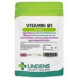 Lindens Vitamin B1 Thiamin 100 mg Tabletten   100 Verpackung   Superstarke 7000 % NRV Tabletten. Unterstützen einen gesunden Stoffwechsel und die gesunde Herzfunktion
