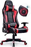 GTPLAYER Gaming Stuhl mit Lautsprecher Bürostuhl Schreibtischstuhl Musik Audio Gamer Stuhl Drehstuhl Ergonomisches Design PC Stuhl Multi-Funktion E-Sports Chefsessel (Schwarz-Rot) gtracing Series