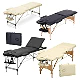 2 Zonen Mobile Massageliege klappbar Massage Kosmetik Bank Ttisch klappbar Höhenverstellbare Holzfüßen Massagebank (bis 230kg belastbar) - Beige