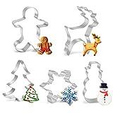 Joyoldelf Weihnachten Ausstecher Set, 5pcs Weihnachten Ausstechformen Keks Ausstechform von Schneeflocken, Weihnachtsbaum, Rentier, Gingerbread-Mann, Schneemann für Kinder