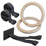 ALPIDEX Holz Turnringe Gymnastikringe Gym Ringe inklusive Türanker und Befestigungsgurte mit Längenmarkierung