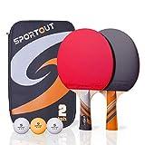 Easy-Room Tischtennisschläger, Tischtennis-Set mit 2 Schlägern und 3 Bällen und Tischtennis-Schläger mit Carry Case(Advanced Play) (Tischtennis-Set)