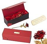 Romeo&Love ROT Goldene Gold Rose mit Gravur (24 Karat Gold veredelt) inklusive Echtheit-Zertifikat Edel Geschenk-Box Valentinstag Jahrestag Hochzeitstag Weihnachtsgeschenk Geburtstag Geschenke