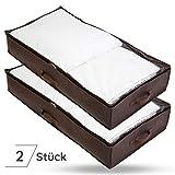 Bruce.  2 x Premium Unterbettkommoden | 90 Liter - 100 x 50 x 18 cm | Atmungsaktiv und Mottenfrei | Platzsparende Unterbett Aufbewahrungstasche für Bettdecken, Bettwäsche und Kissen | 1 Jahr Garantie