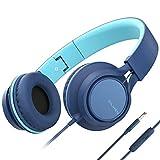 Ailihen C8 Kopfhörer leicht faltbar mit Mikrofon Lautstärkeregelung Musik Headsets 3,5mm für Smartphones PC Laptop Mac MP3 Tablet (Indigo)