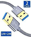 JSAUX USB 3.0 Kabel, [2 Stück 1M+2M] USB A Stecker auf A Stecker Nylon Verbindungskabel, 5Gbps Super Speed, vergoldeter Anschluss für HDD, DVD, Drucker, Kameras, Festplattengehäusen, Laptop usw (Grau)