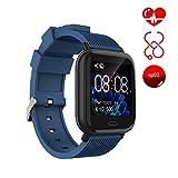 Smart Watch Ayete Fitness Tracker mit Herzfrequenz-/Blutdrucküberwachung Fitness Uhr smart Sportuhr Wasserfest gemäß IP67 Armbanduhr Kamerafernbedienung Damen Smart-Armband für Android iOS (Blau)
