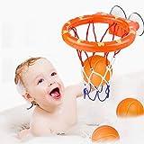 WEARXI Wasserspielzeug Badespielzeug Baby, Kinder Badewannenspielzeug Bällebadewannen Basketballkorb, Jungen Und Mädchen Bad Spielzeug Geschenk für Kinder Spielzeug Basketball Set 3-Ball